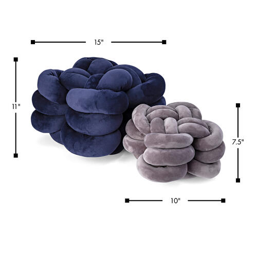 Gila Navy and Grey Velvet Knot Pillows - Set of 2