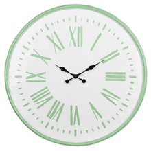 Mint & White Enamel Wall Clock with Roman Numeral