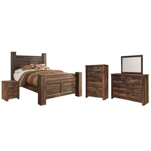 Queen Poster Bed With Mirrored Dresser, Chest and Nightstand