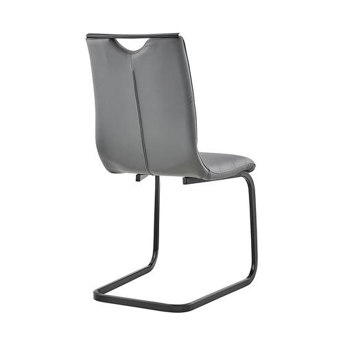 Armen Living - Pacific Dining Room Chair in Grey Faux Leather and Black Finish - Set of 2