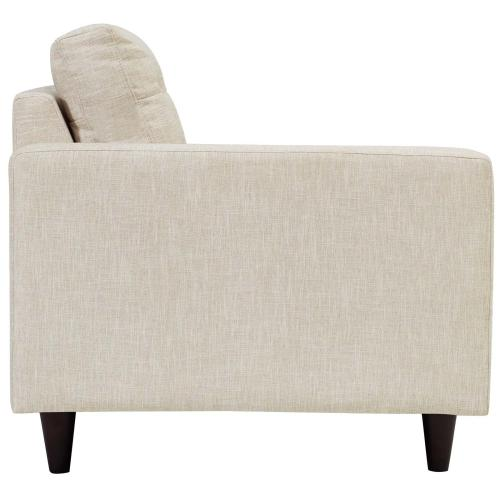 Empress Left-Facing Upholstered Fabric Loveseat in Beige