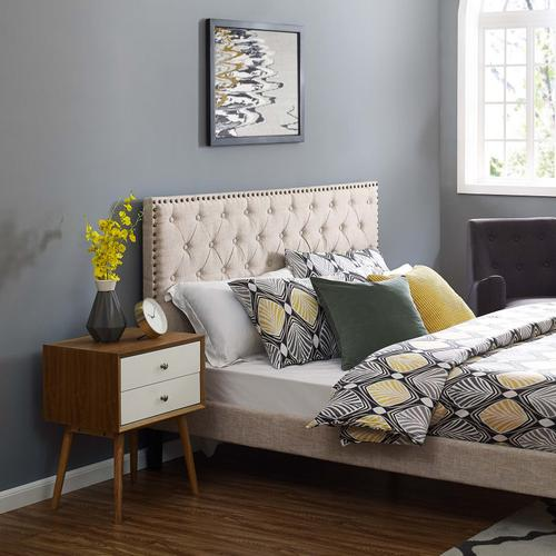 Modway - Helena Tufted King and California King Upholstered Linen Fabric Headboard in Beige
