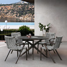 Oasis and Brielle Outdoor 5 Piece Dark Eucalyptus and Concrete Dining Set