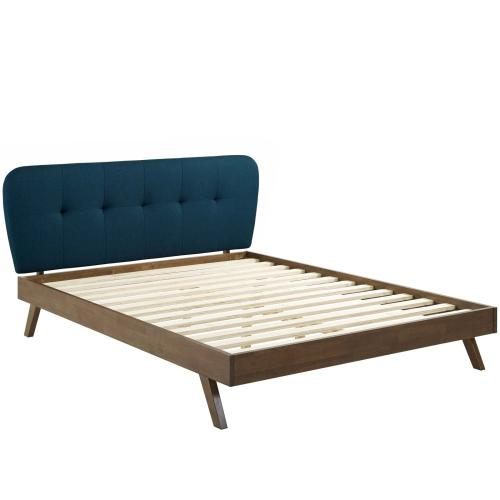 Modway - Gianna Queen Upholstered Polyester Fabric Platform Bed in Blue