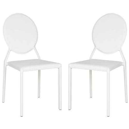 Product Image - Warner 37''h Round Back Leather Side Chair - White