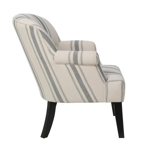 Upholstered Roll Arm Accent Chair in Cambridge Black Stripe