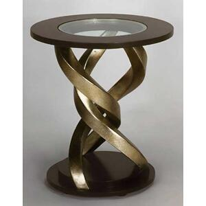 """End Table with Glass Dia.26 x 27"""""""
