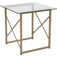 View Product - Mar Vista Collection Glass Side Table with Matte Gold Frame