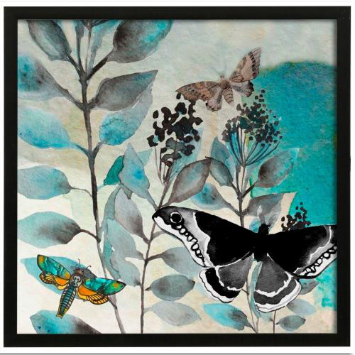 Style Craft - Butterfly Perspective II  Made in USA  Artist Print  Faux Wood Frame Under Glass  Attached Hangi