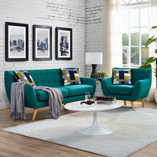 Remark 2 Piece Living Room Set in Teal