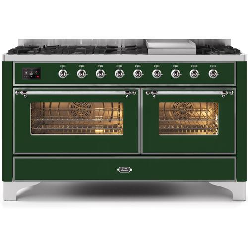 Ilve - Majestic II 60 Inch Dual Fuel Natural Gas Freestanding Range in Emerald Green with Chrome Trim