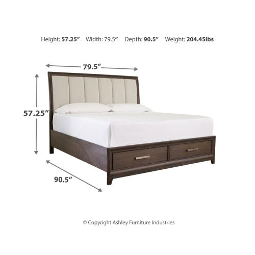 Brueban California King Panel Bed With 2 Storage Drawers