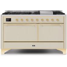 Majestic II 60 Inch Dual Fuel Liquid Propane Freestanding Range in Antique White with Brass Trim