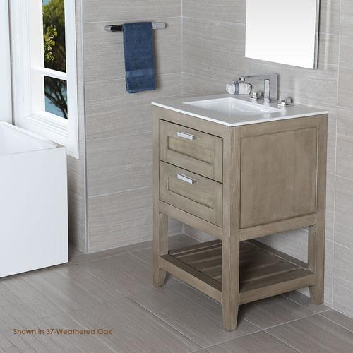 Free standing under-counter vanity with two drawers(knobs included) and slotted shelf in wood. Under-mount sink 5452UN, stone countertop H281T are not included.