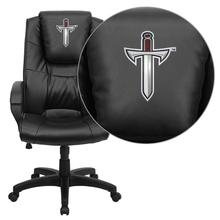 Troy University Trojans Embroidered Black Leather Executive Office Chair