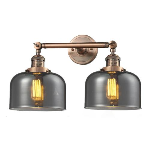208-AC-G73 - LARGE GLASS BELL 2 LT WALL SCONCE