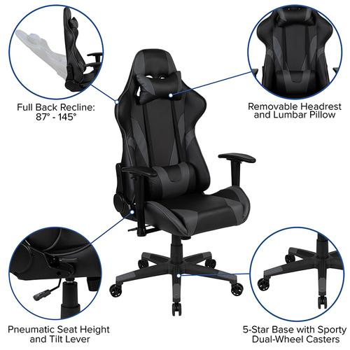 Gallery - Red Gaming Desk and Gray Reclining Gaming Chair Set with Cup Holder and Headphone Hook