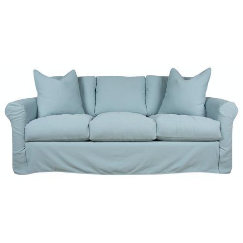 Roll Arm, Plush Depth, Three Cushion, Queen Slipcover Sofa.