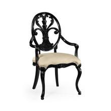 Black Painted Sheraton Style Oval Back Arm Chair