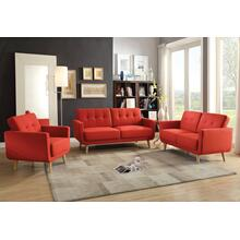 "56"" X 31"" X 35"" Red Linen Loveseat"