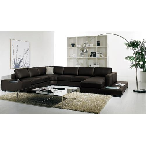 Divani Casa T35 Brown Leather Sectional Sofa With Lights
