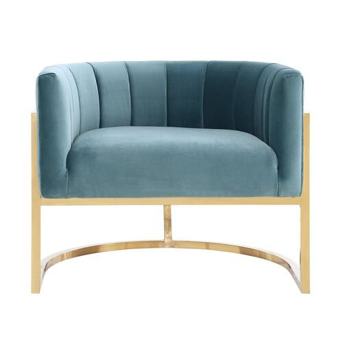 Magnolia Sea Blue Chair with Gold Base