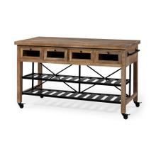 Stuart I Brown Solid Wood Top Two-Tier Black Metal Rolling Kitchen Island