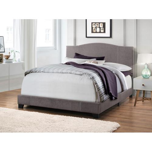 Queen All-In-One Modified Camel Back Upholstered Bed in Denim Cement