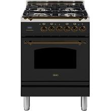 Nostalgie 24 Inch Dual Fuel Liquid Propane Freestanding Range in Matte Graphite with Bronze Trim