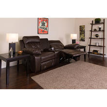 See Details - Reel Comfort Series 2-Seat Reclining Brown LeatherSoft Theater Seating Unit with Curved Cup Holders