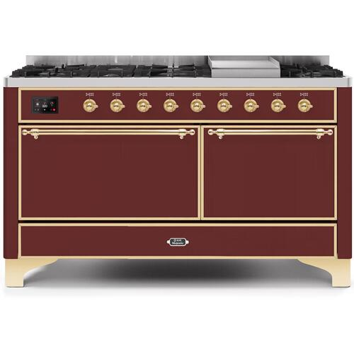 Majestic II 60 Inch Dual Fuel Natural Gas Freestanding Range in Burgundy with Brass Trim