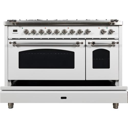 Nostalgie 48 Inch Dual Fuel Natural Gas Freestanding Range in White with Chrome Trim