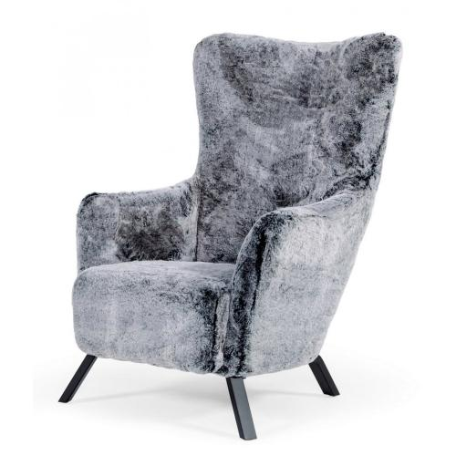 Modrest Findon - Glam Grey Faux Fur Accent Chair