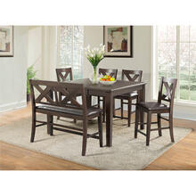 Cambridge Huntington 6-Piece Counter-Height Dining Set: 1 Drop-Leaf Table, 1 Bench and 4 Chairs with Faux-Leather Seats in Medium Brown, 982005-6PC-BRW
