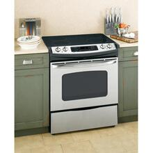"GE® 30"" Slide-In Electric Range with Self-Cleaning Oven (This may be a Stock Photo, actual unit (s) appearance may contain cosmetic blemishes. Please call store if you would like additional pictures). This unit carries our 6 Month warranty, MANUFACTURER WARRANTY and REBATE NOT VALID with this item. ISI 40588 B"