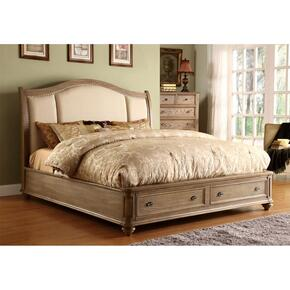 Coventry - Cali King Sleigh Storage Bed Rails - Weathered Driftwood Finish