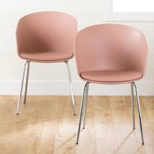 Dining Chair with Metal Legs - Set of 2 - Pink and Silver