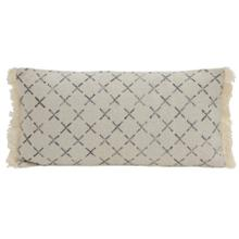 6815412 - Pillow 60x30 cm KADRIYE black-white cross print with fringes