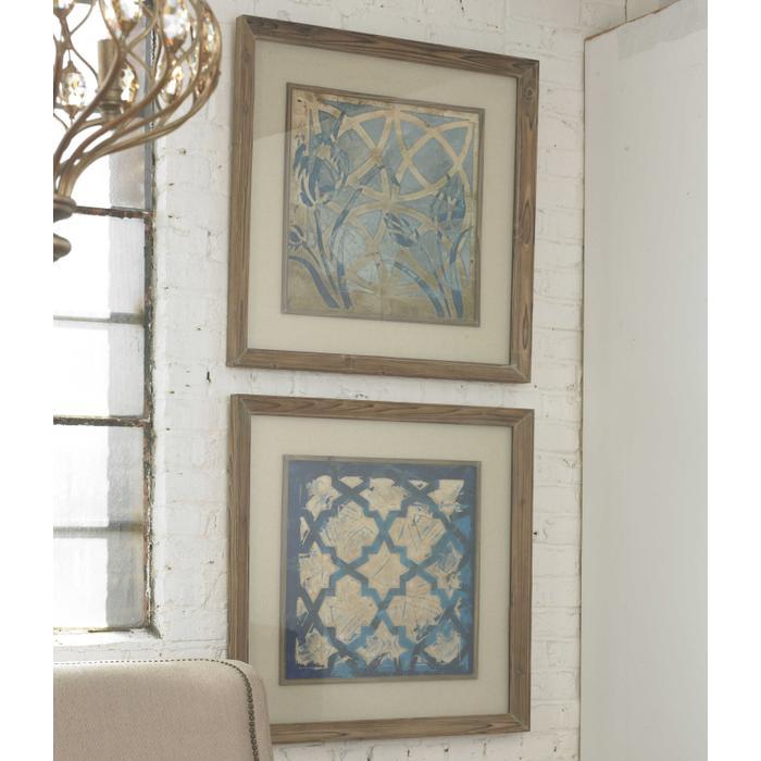 Uttermost - Stained Glass Indigo Framed Prints, S/2