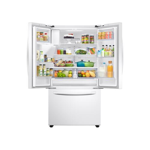 27 cu. ft. Large Capacity 3-Door French Door Refrigerator with External Water & Ice Dispenser in White
