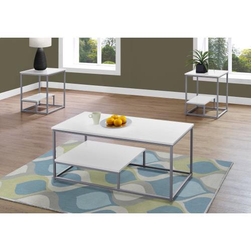Gallery - TABLE SET - 3PCS SET / WHITE / SILVER METAL