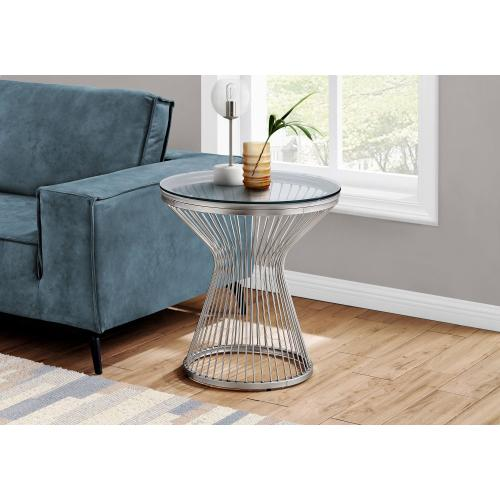 """Gallery - ACCENT TABLE - 24""""H / STAINLESS STEEL WITH TEMPERED GLASS"""