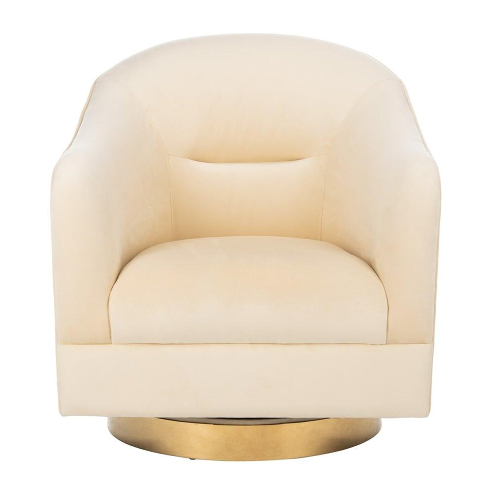 Madelyn Swivel Barrel Chair - Cream / Gold
