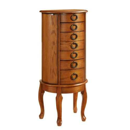 6-drawer and 2 Side Storage Jewelry Armoire, Burnished Oak