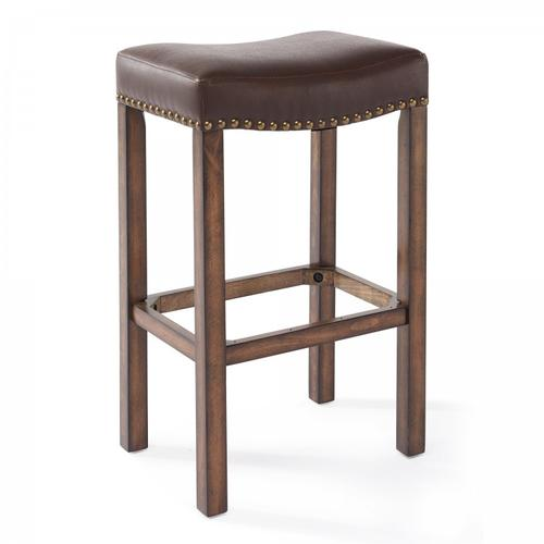 "Armen Living Tudor 26"" Counter Height Wood Backless Barstool in Chestnut Finish and Kahlua Faux Leather"