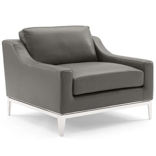 Modway - Harness Stainless Steel Base Leather Loveseat & Armchair Set in Gray