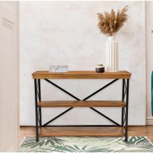 Hanover Lille Mango Wood and Iron Console Table with 3 Shelves, 52-In. W x 20-In. D x 30-In. H, HLR003-NAT