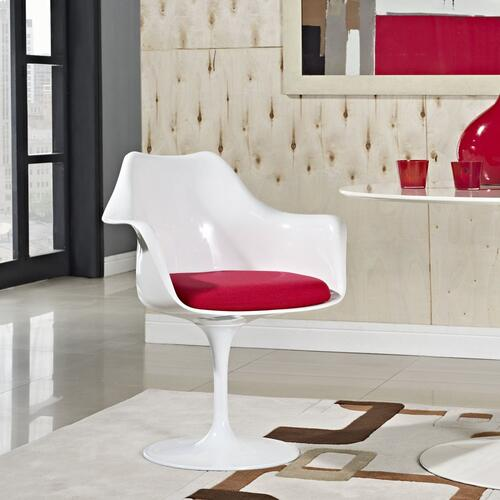 Lippa Dining Fabric Armchair in Red