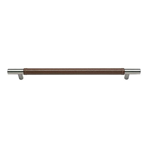 Zanzibar Brown Leather Pull 11 5/16 Inch (c-c) - Stainless Steel