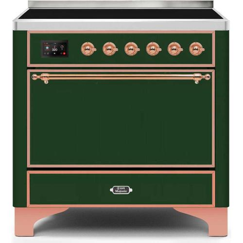 Ilve - Majestic II 36 Inch Electric Freestanding Range in Emerald Green with Copper Trim
